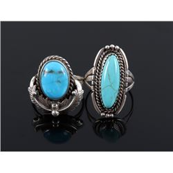 Navajo Sterling & Cripple Creek Turquoise Rings