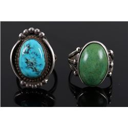 Navajo Sterling Silver & Turquoise Old Pawn Rings
