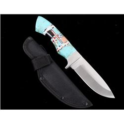 Mexican Turquoise & Inlay Handle Knife With Sheath