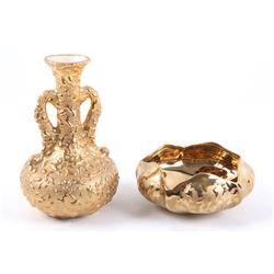 Mid 1900's Weeping 22K Gold Vase & Bowl
