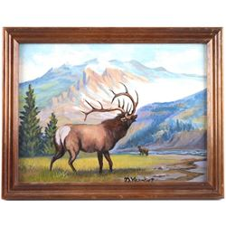 Elk Oil Painting by D. Yearout Made in Dec.10 1986
