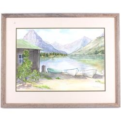 Lakeside View Canvas Painting by R. Rink