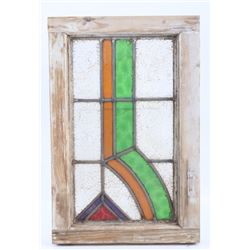 Victorian Red & Green Lead Stained Glass Window