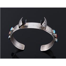 Navajo Sterling Turquoise & Coral Bracelet