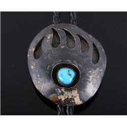 Navajo Sterling & Turquoise Bear Paw Bolo Tie
