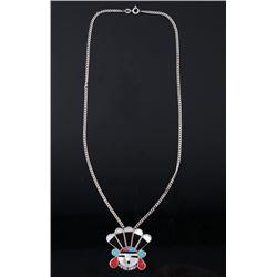 Zuni Sunface Sterling & Multi-stone Inlay Necklace