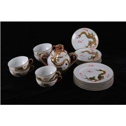 19 pc Geisha Chinese Porcelain Tea Set