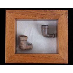 20th Century Ceramic Pipe Bowls & Display Case