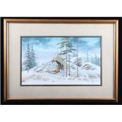 Buffalo Hunter Framed Painting Signed Sharp