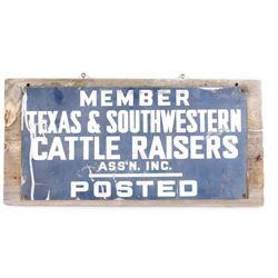 Wooden Texas Cattle Raisers Sign