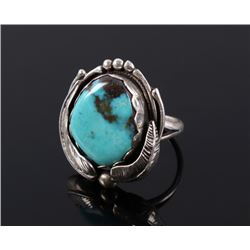 Signed Navajo Sterling & Turquoise Ring
