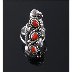 Signed Navajo Sterling & Ox Blood Coral Ring
