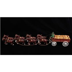 Cast Iron Beer Delivery Horse Drawn Wagon