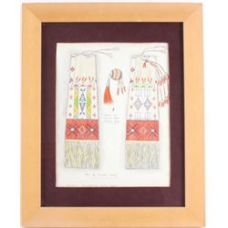 American Indian Beaded & Quilled Pipe Bag Drawing by Burdett