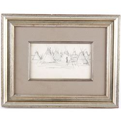 Native American Drawn Tipi In Protective Glass