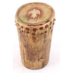 Native American Log & Hide Drum.