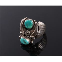Navajo Signed Sterling & Turquoise Ring