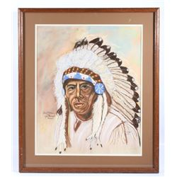 Earl Old Person Chief Pastel Painting By H. Wright