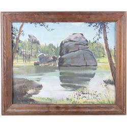 Original Carl Tolpo Sylvan Lake Oil Painting