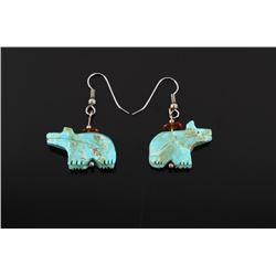 Navajo Cripple Creek Turquoise Bear Effigy Earring