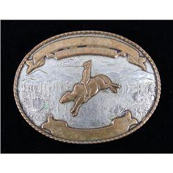 1940's Comstock German Silver Rodeo Belt Buckle