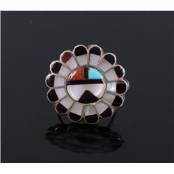 Zuni Sunface Sterling & Multi-stone Inlay Ring