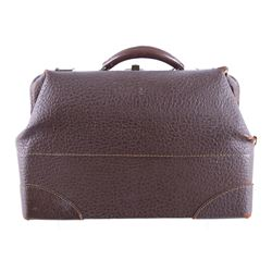 Brown Textured Leather Travel Bag Circa 1960s