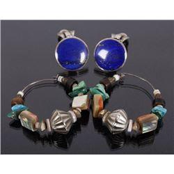 Navajo Multistone Earrings & Lapis Lazuli Earrings