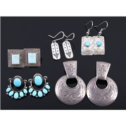 Collection of Navajo Sterling & Turquoise Earrings