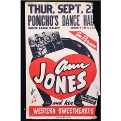 Ann Jones Poncho's Dance Hall 1940's Event Poster