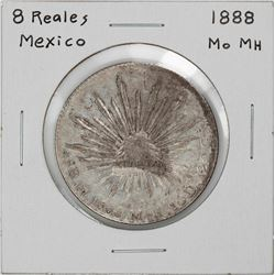 1888 Mo MH Mexico 8 Reales Caps & Rays Silver Coin