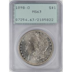 1898-O $1 Morgan Silver Dollar Coin PCGS MS63 Old Green Rattler