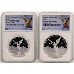 Lot of 2018 Mexico 1 Onza & 1/2 Onza Libertad Proof Coins NGC PF70 Ultra Cameo