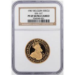 1987 Belgium Proof 50 ECU Gold Coin KM-167 NGC PF69 Ultra Cameo