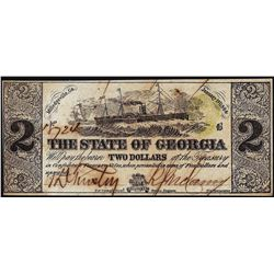 1864 $2 The State of Georgia Milledgeville Obsolete Note