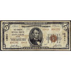 1929 Type 2 $5 National Bank of Longview, Texas CH# 12411 National Currency Note
