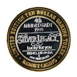 .999 Fine Silver Silver Legacy Reno, Nevada $10 Limited Edition Gaming Token