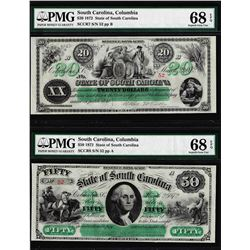 Low Serial Set 1872 $20 & $50 South Carolina Obsolete Notes PMG Superb Gem Unc. 68EPQ
