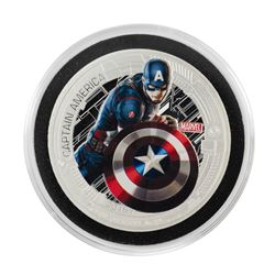 2015 Niue $2 Proof Avengers Age of Ultron Captain America Silver Coin