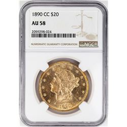 1890-CC $20 Liberty Head Double Eagle Gold Coin NGC AU58