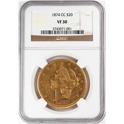 1874-CC $20 Liberty Head Double Eagle Gold Coin NGC VF30