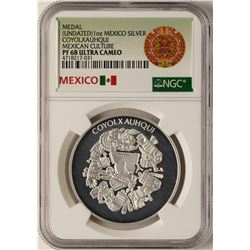 Undated Mexico Silver Coyolxauhqui Silver Medal NGC PF68 Ultra Cameo