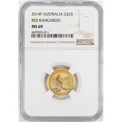 2014P $25 Australia Red Kangaroo Gold Coin NGC MS69