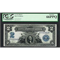 1899 $2 Mini-Porthole Silver Certificate Note Fr.253 PCGS Gem New 66PPQ