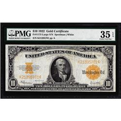 1922 $10 Gold Certificate Note Fr.1173 PMG Choice Very Fine 35EPQ