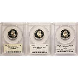Set of (3) 2003-S Proof State Quarter Coins PCGS PR69DCAM