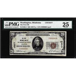 1929 $20 First NB of Washington, OK CH# 10277 National Currency Note PMG Very Fine 25