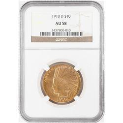 1910-D $10 Indian Head Eagle Gold Coin NGC AU58