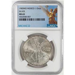 1983Mo Mexico 1 Onza Libertad Silver Coin NGC MS65