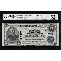 1902 PB $5 Gotham NB New York, NY CH# 9717 National Note PMG About Uncirculated 53
